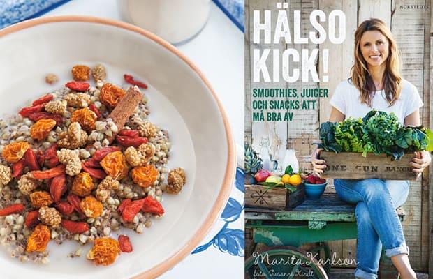 Massor av nyttiga och inspirerande recept i boken Hälsokick av Marita Karlson