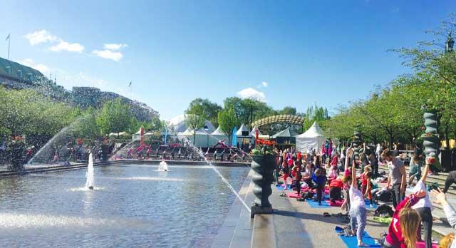 Yoga i Kungsträdgården i Stockholm