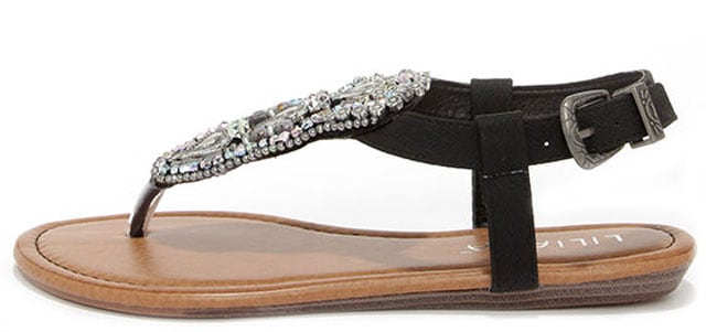 Oasis Life Black Beaded Thong Sandals, $27 på lulus.com