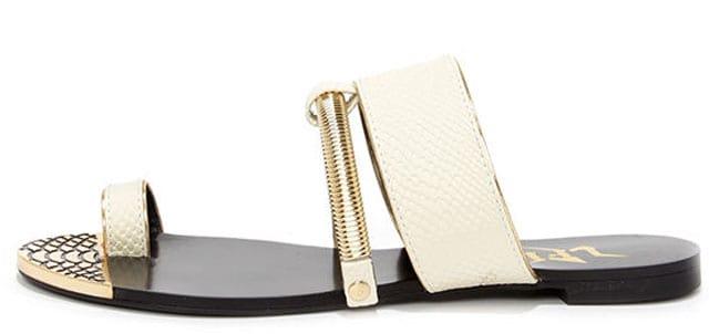 LFL L-Dash White Flat Sandals, $47 på lulus.com