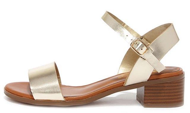 Shimmer Down Champagne Ankle Strap Sandals, $23 på lulus.com