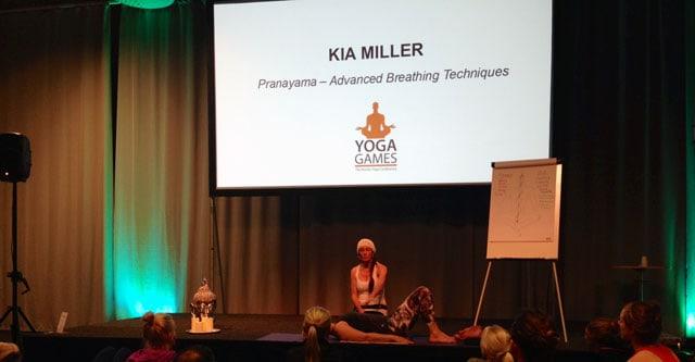 Kia Miller på Yoga Games i Göteborg