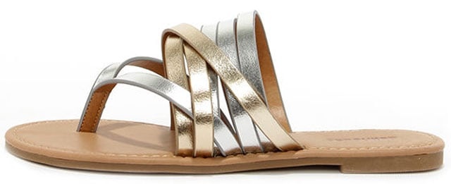 Strappy and You Know It Metallic Thong Sandals, $18 på lulus.com